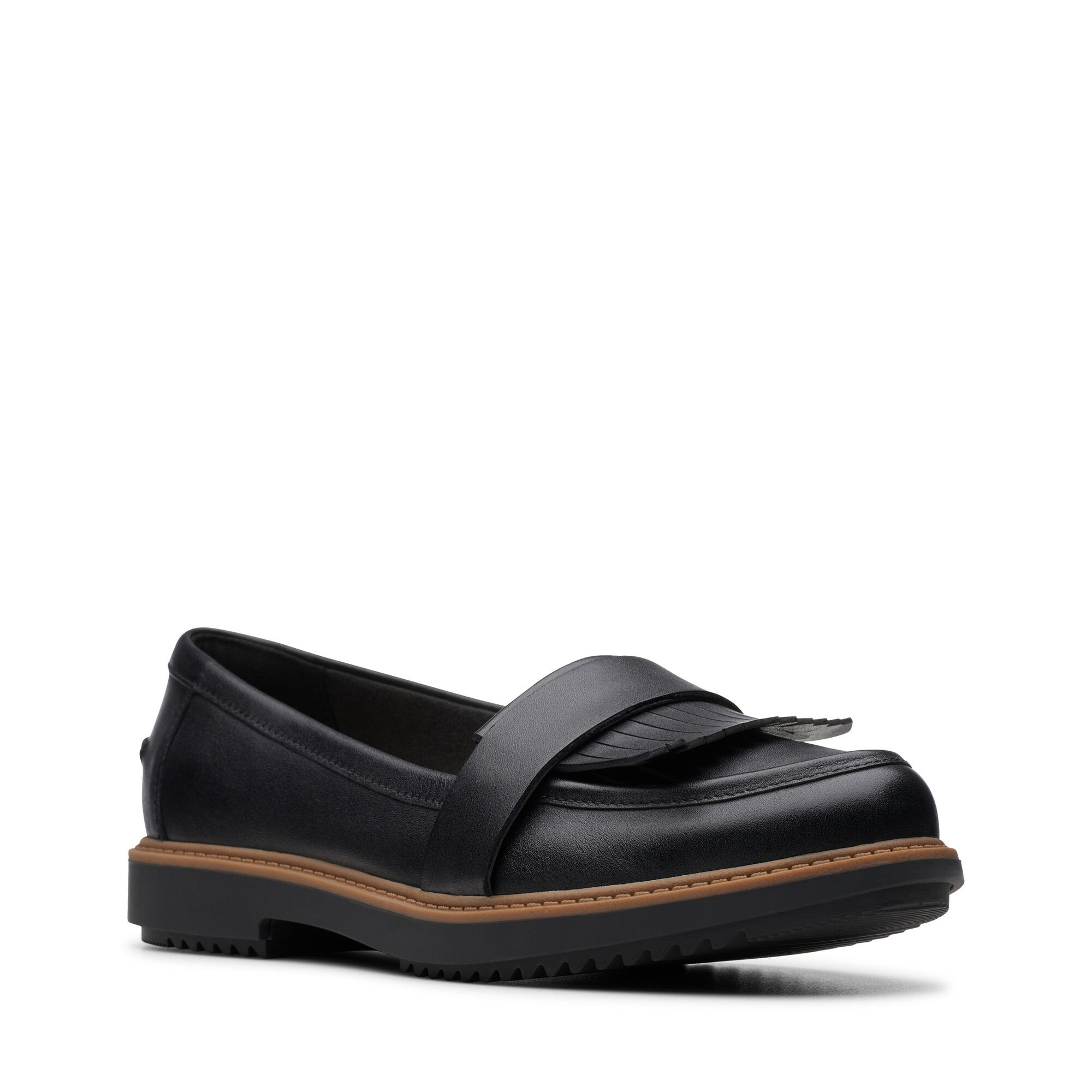 Women's Black Leather Flat Shoes Raisie Theresa | Clarks