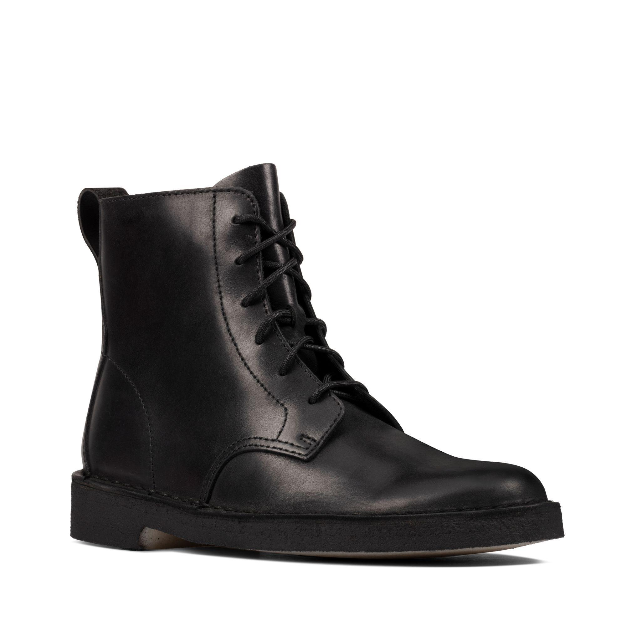 Black Polished Ankle Boots - Desert Mali
