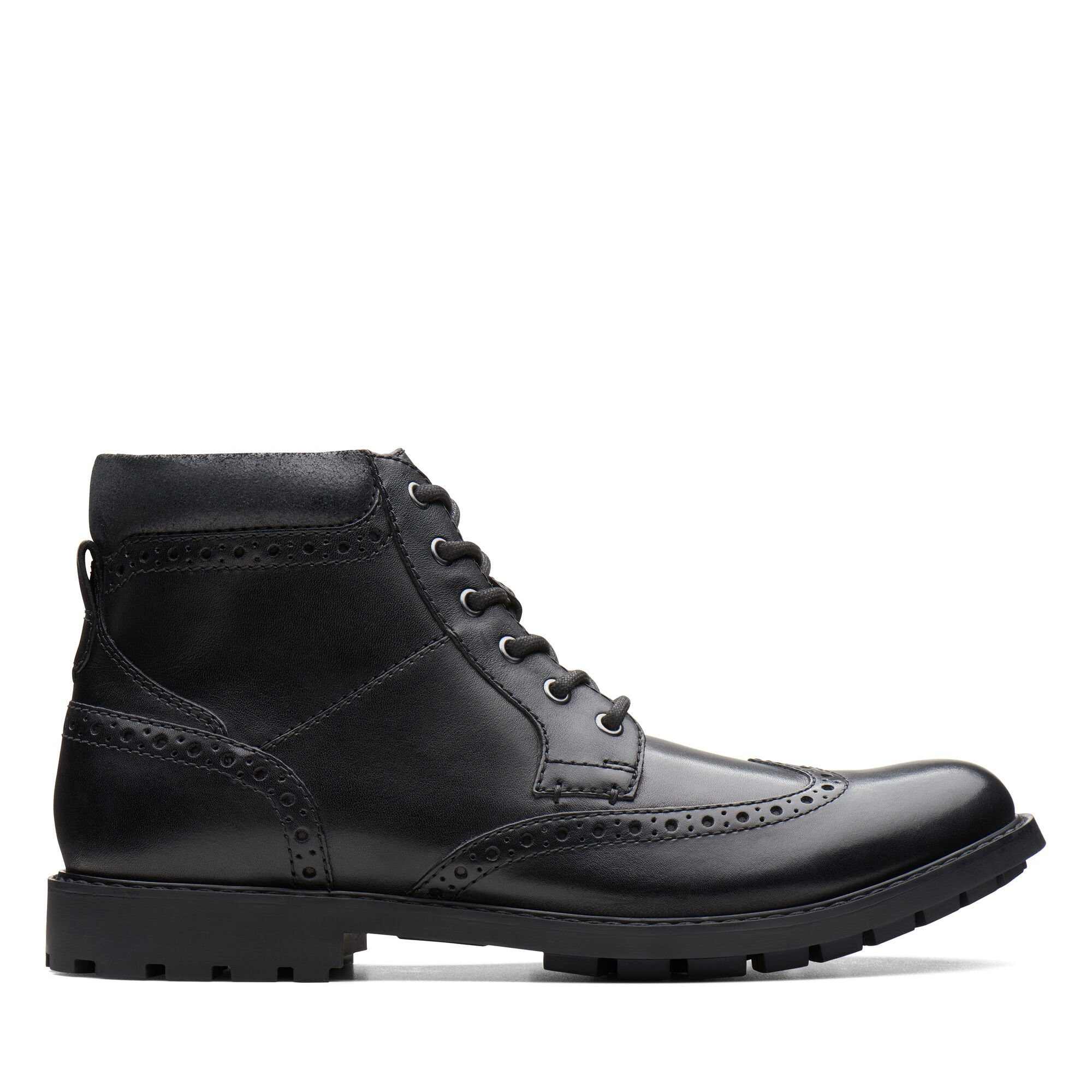 Men's Black Smooth Leather Ankle Boots