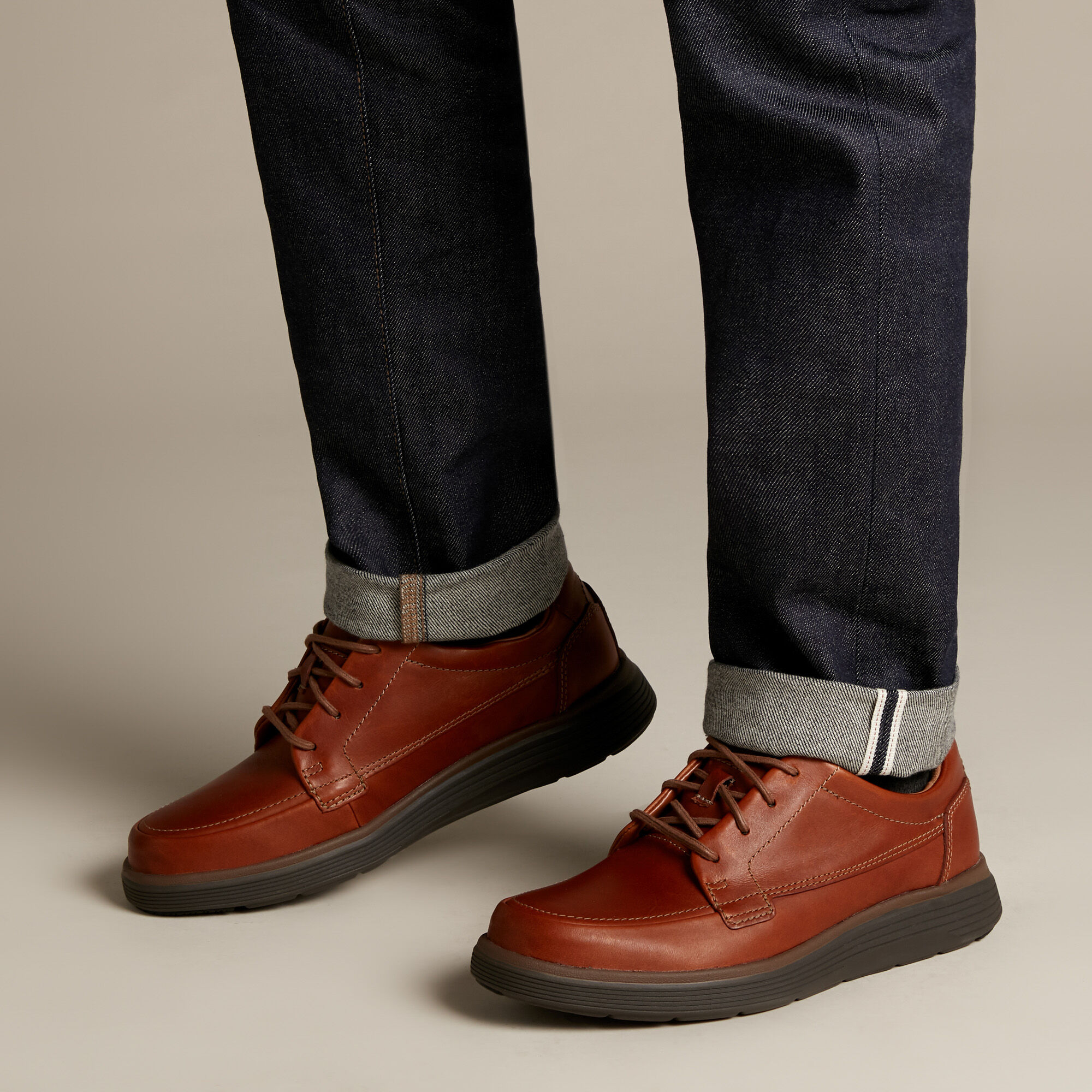 Dark Tan Leather Shoes - Un Abode Ease