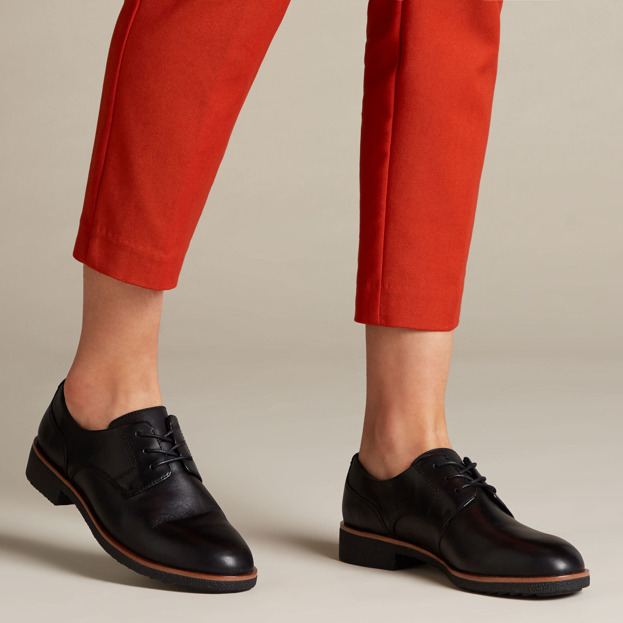 Women's Black Leather Brogues Griffin Lane | Clarks