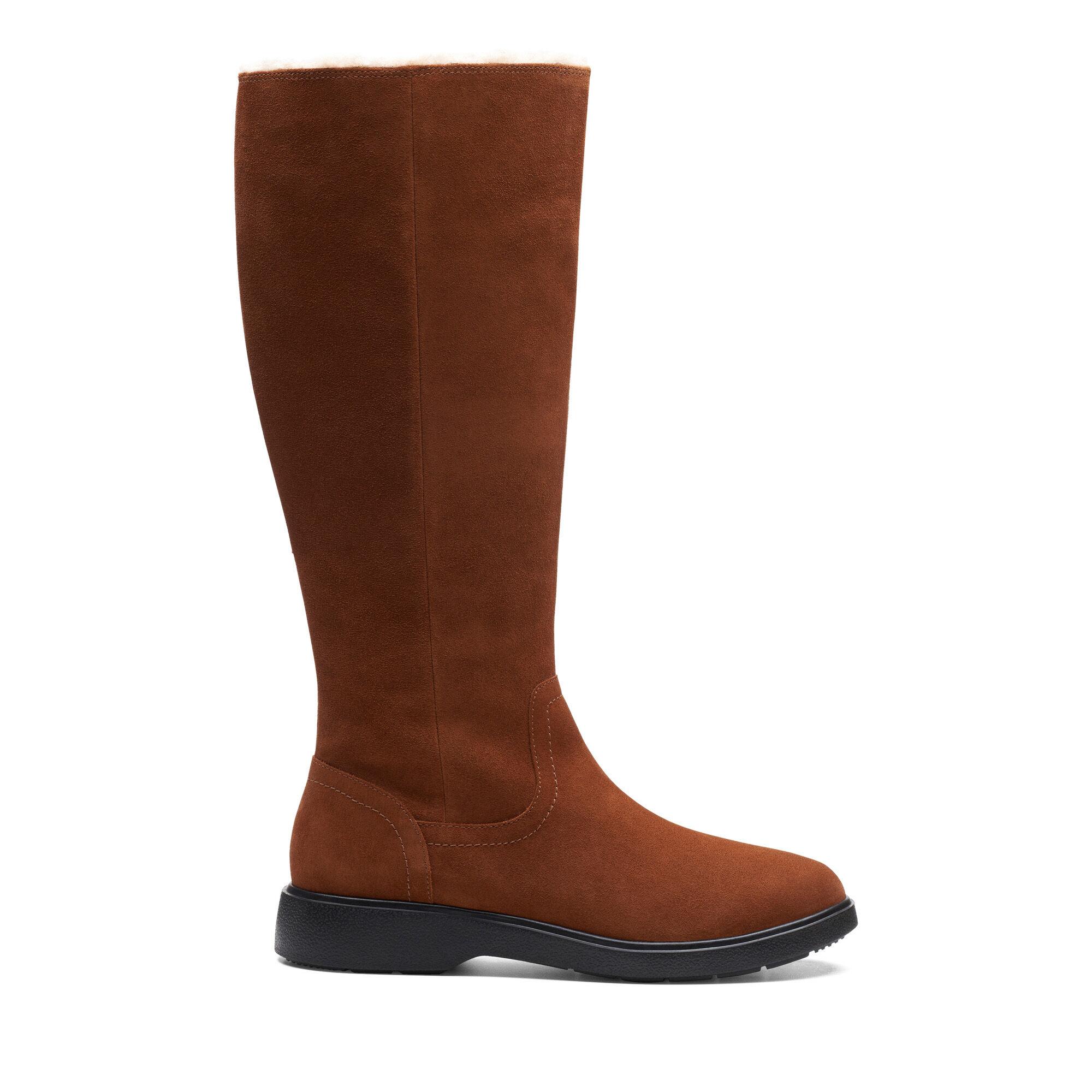 Women's Dark Tan Suede Knee High Boots