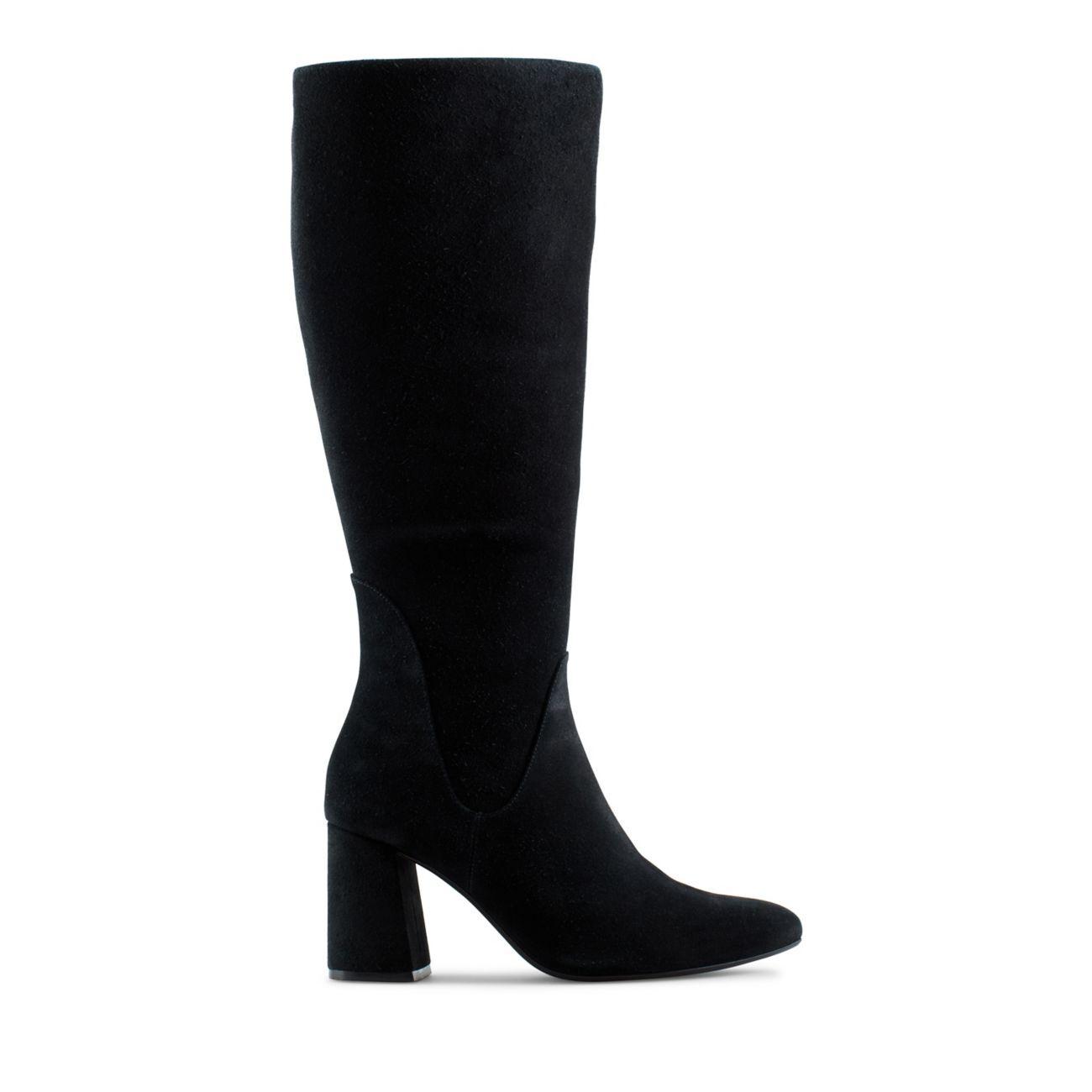 Women's Black Suede Knee High Boots