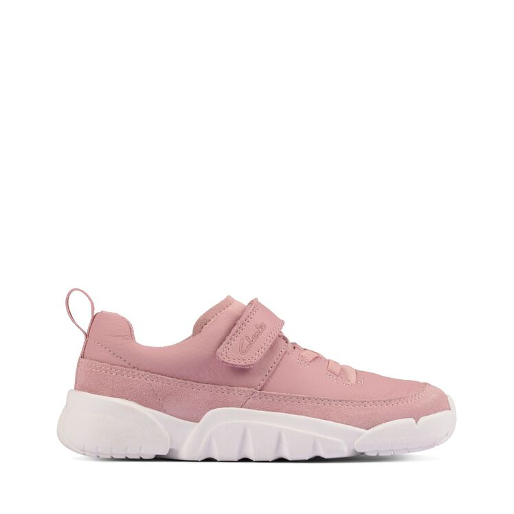 Clarks Girls Casual Trainer Style Pink Leather Shoe