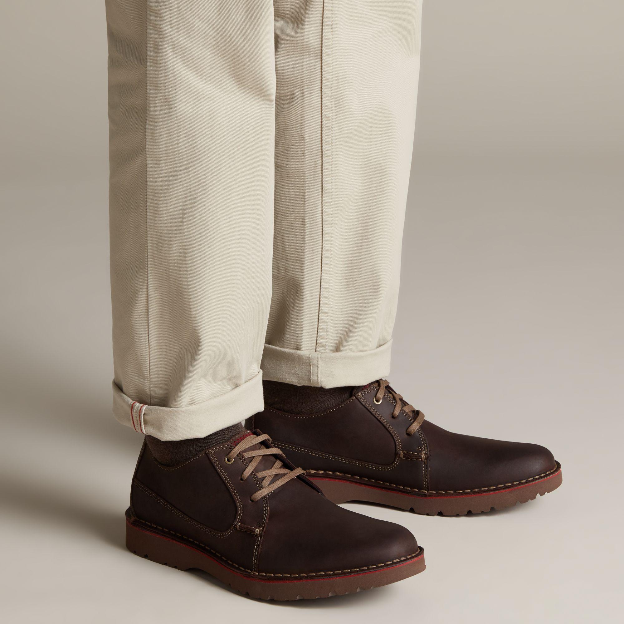 Men's Dark Brown Leather Shoes - Vargo