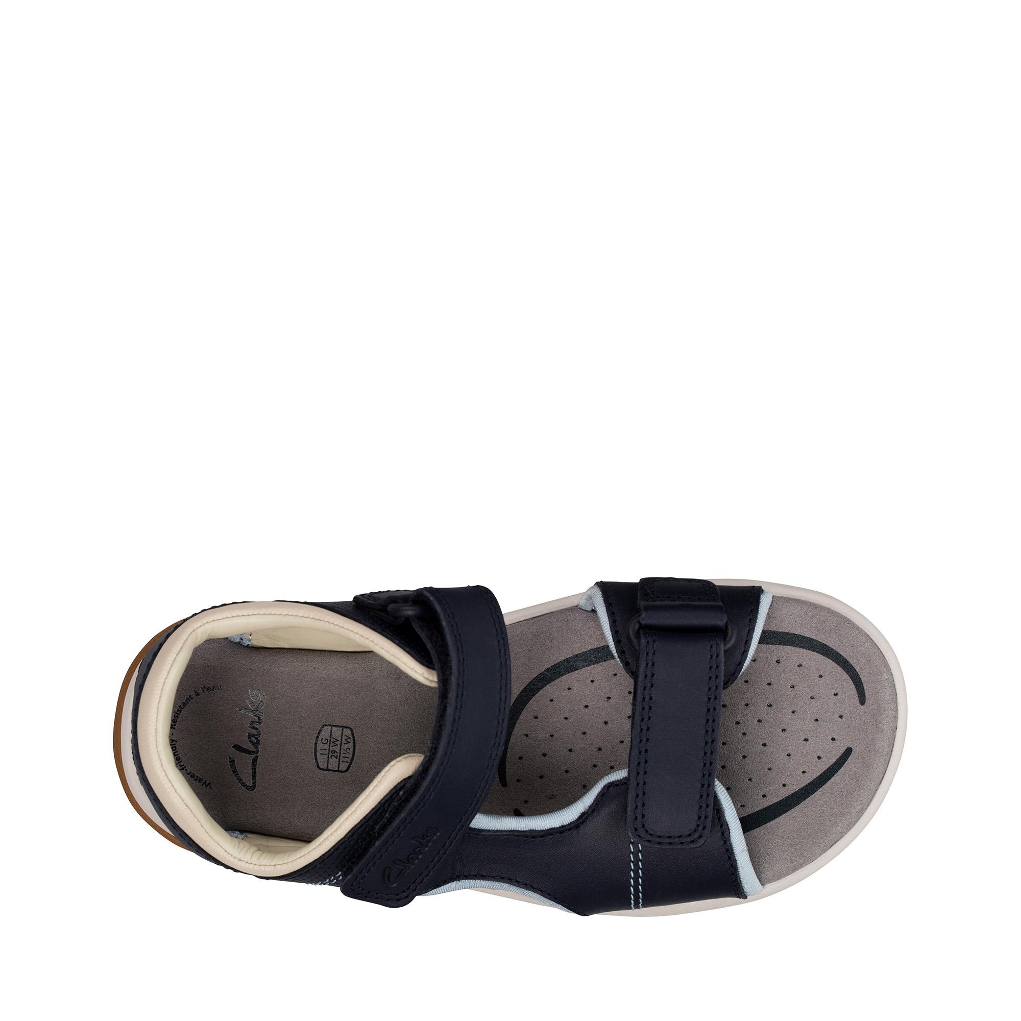 Clarks Garçons Rocco Wave K Bleu Marine Cuir Sandales Taille UK 13 g
