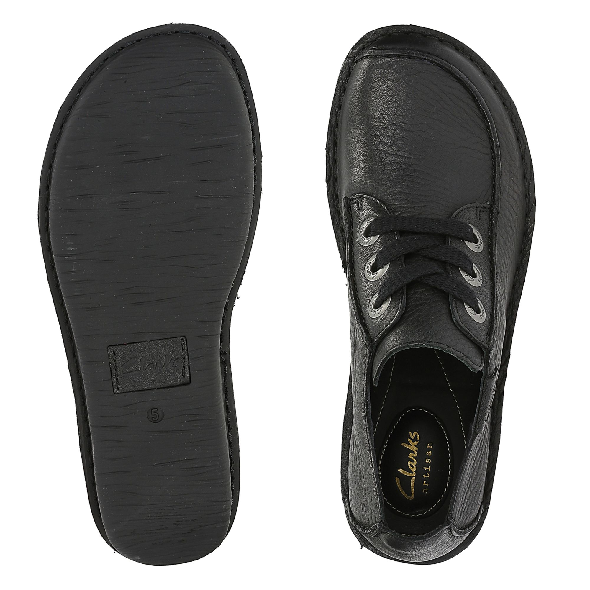 Women's Black Leather Flat Shoes